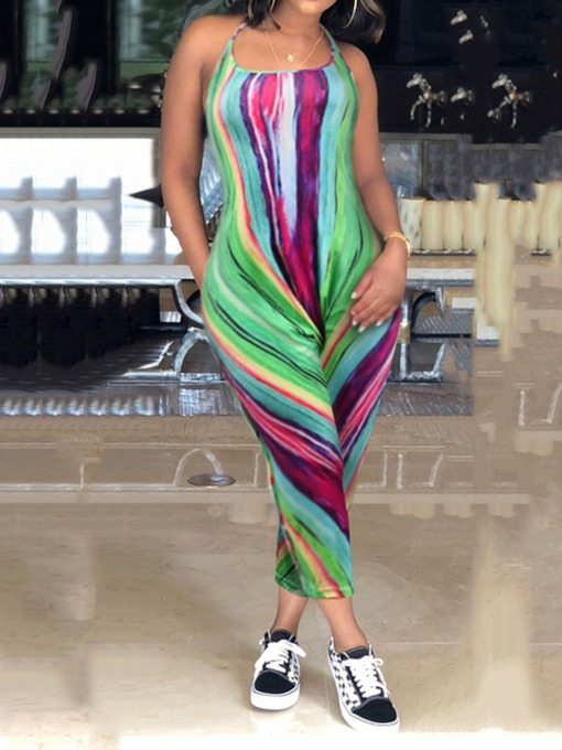 Print Office Lady Ankle Length Color Block Slim Women's Jumpsuit