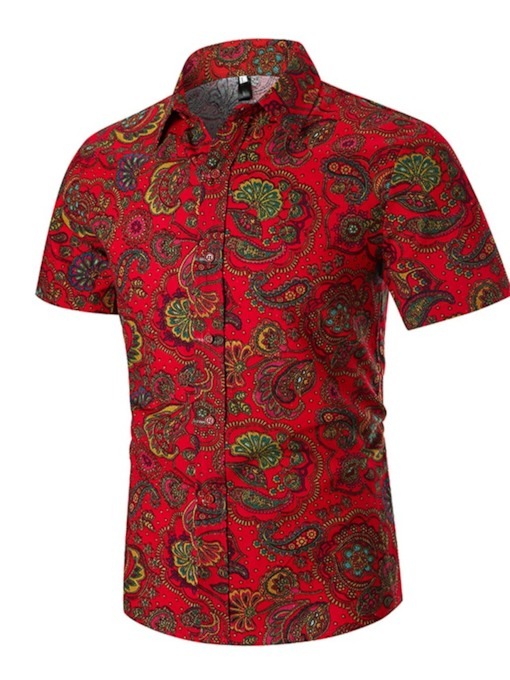 Dashiki Style Mode Africaine Revers Couleur Bloc Bouton Ethnique Single-breasted Hommes Chemise