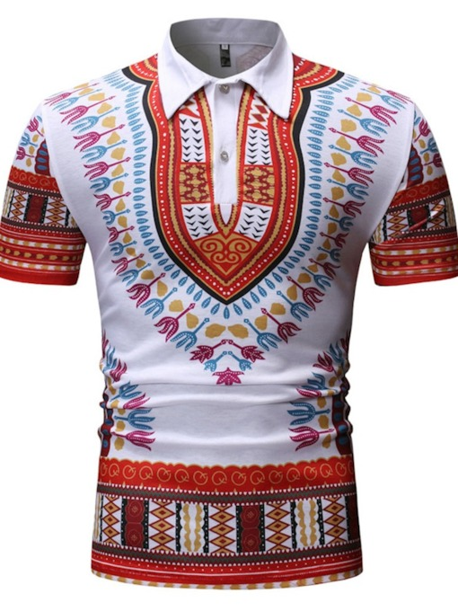 African Fashion Dashiki Stylish Polo Neck Print Color Block Casual Men's Polo Shirt