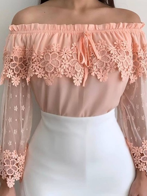 Plain Lace Off Shoulder Long Sleeve Women's Blouse