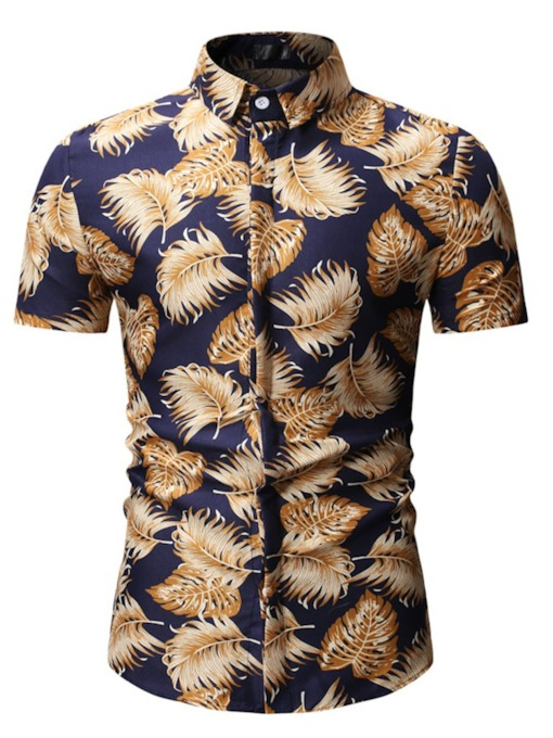 Feather Print Floral Lapel Casual Print Single-Breasted Men's Shirt