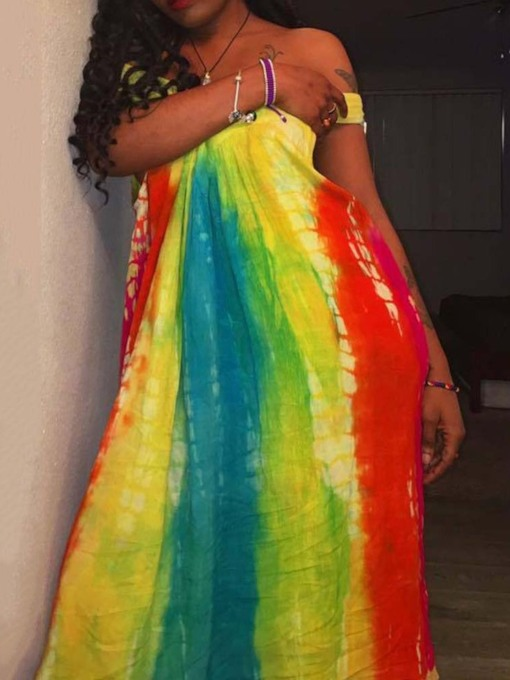 Short Sleeve Tie-Dye Off Shoulder Summer Women's Maxi Dress
