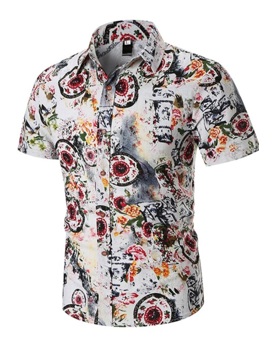 Fashion Floral Prints Button Casual Lapel Single-Breasted Men's Shirt
