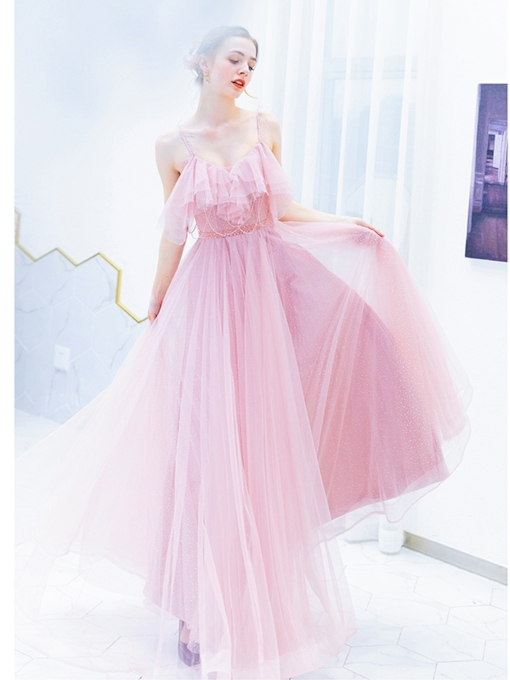 Sleeveless A-Line Floor-Length Beading Prom Dress 2019