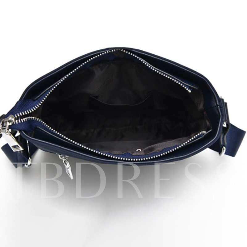 Plain PU Belt-Decorated Rectangle Shoulder Men's Bag
