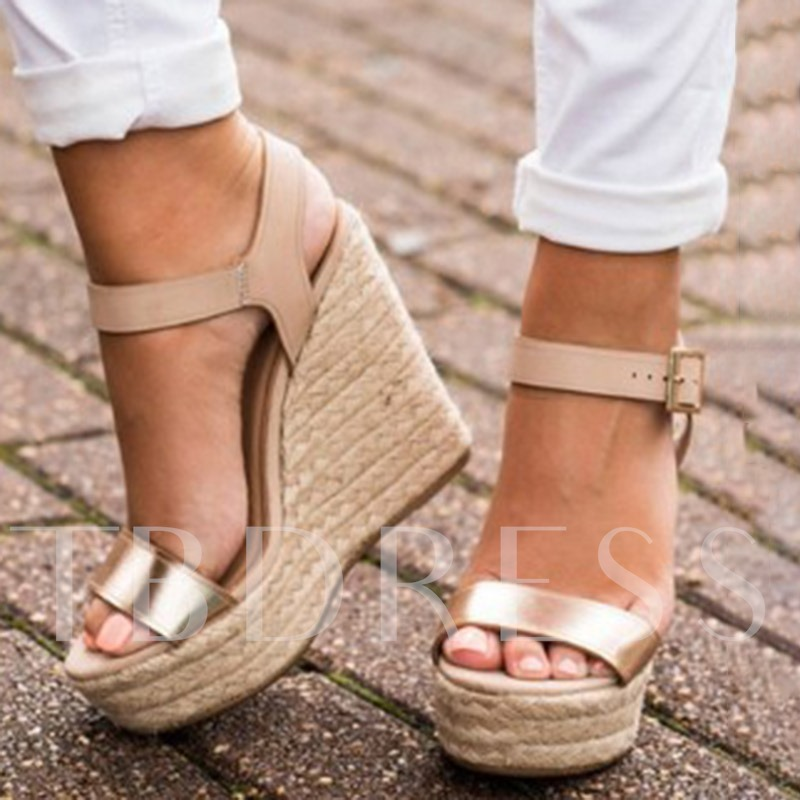 Metallic Ankle Strap Buckle Open Toe Wedge Sandals