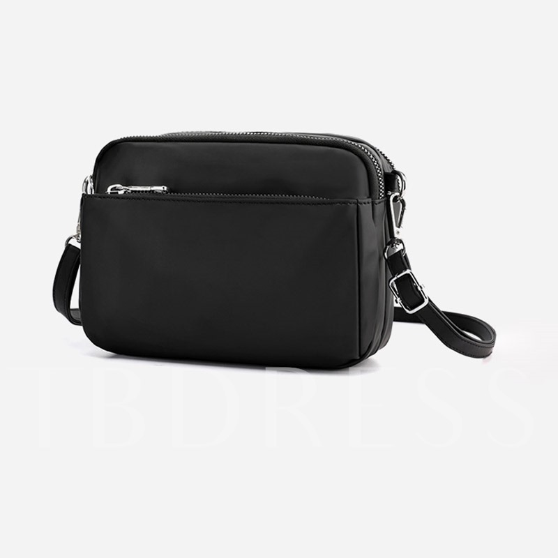 Plain Thread Nylon Square Crossbody Men's Bags