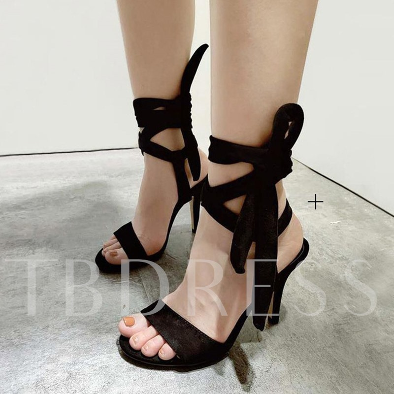 Lace-Up Stiletto Heel Open Toe Ankle Strap Women's Sandals
