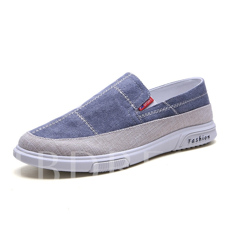 Low-Cut Upper Color Block Slip-On Round Toe Men's Casual Shoes
