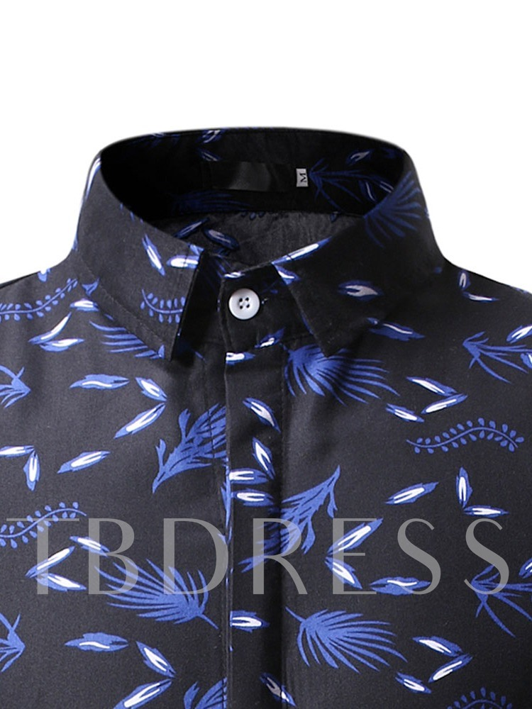 Casual Button Lapel Color Block Single-Breasted Men's Shirt