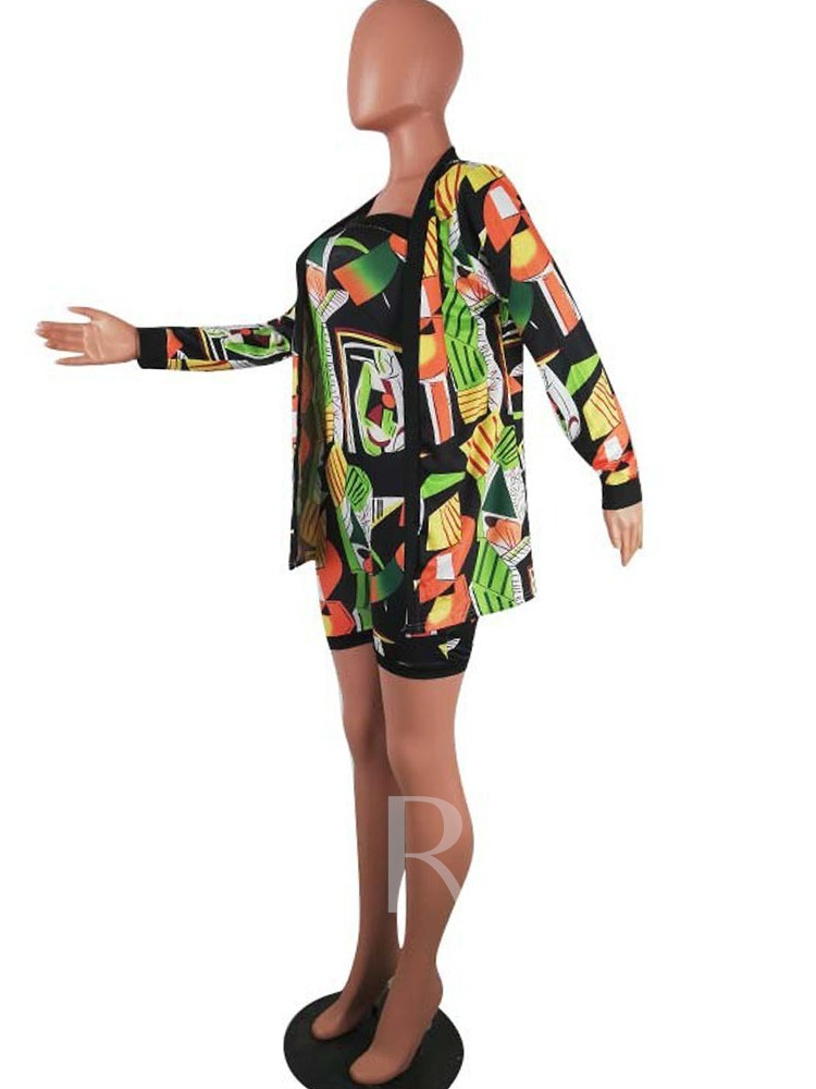 Western Print Coat Color Block Women's Two Piece Sets