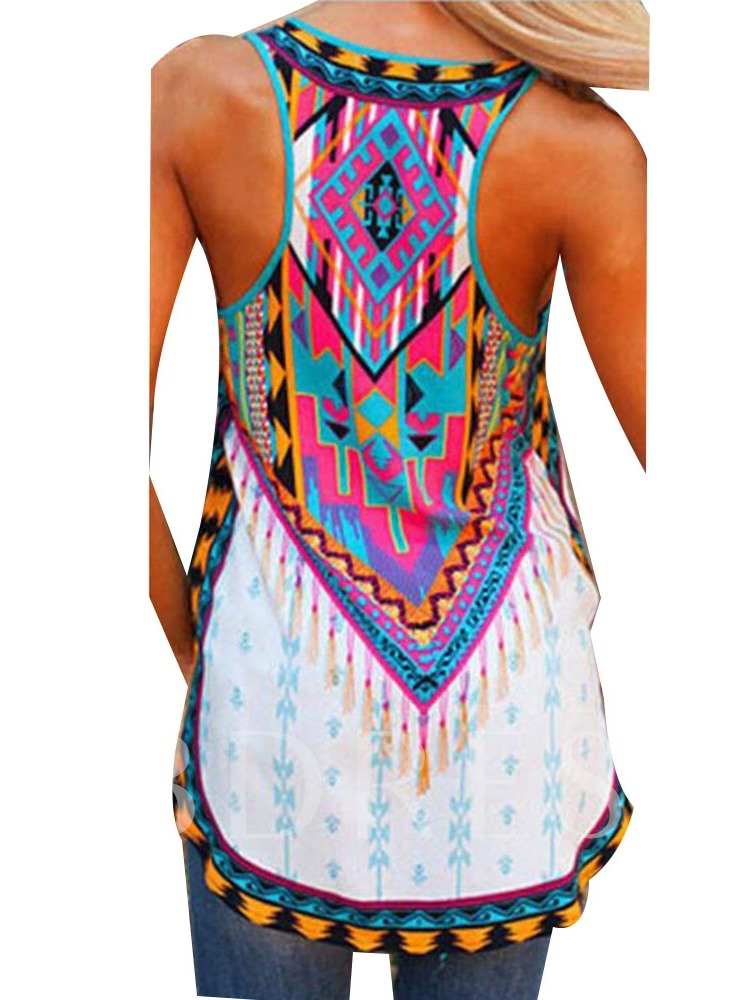 Summer Cotton Print I-Shaped Mid-Length Women's Tank Top