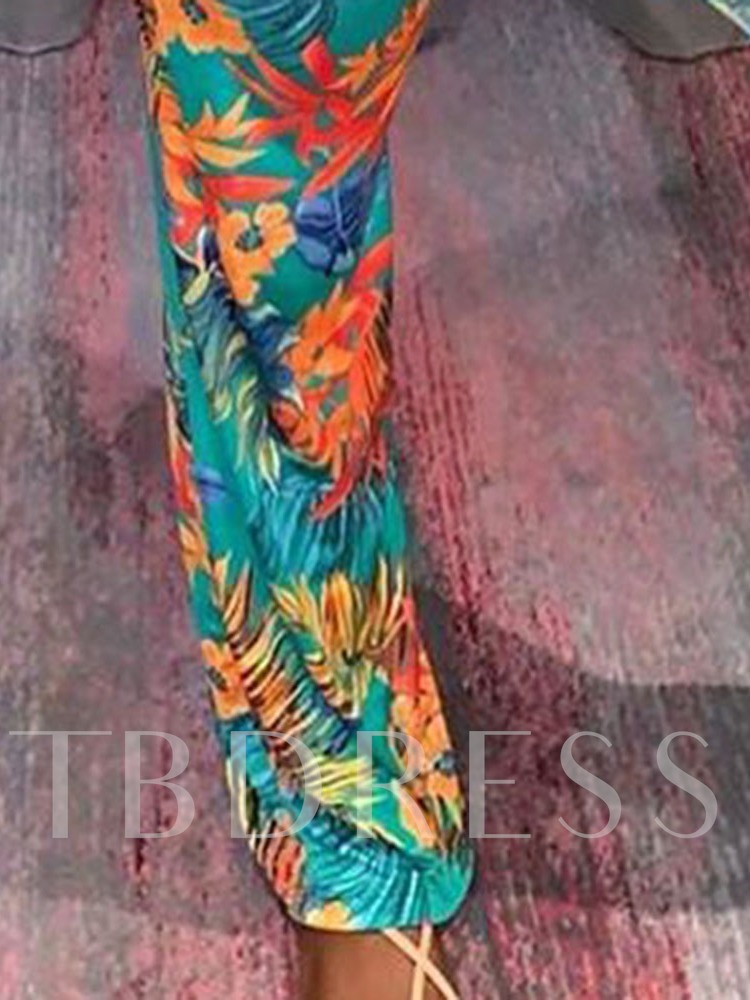 Floral Western Print Full Length Slim Women's Jumpsuit