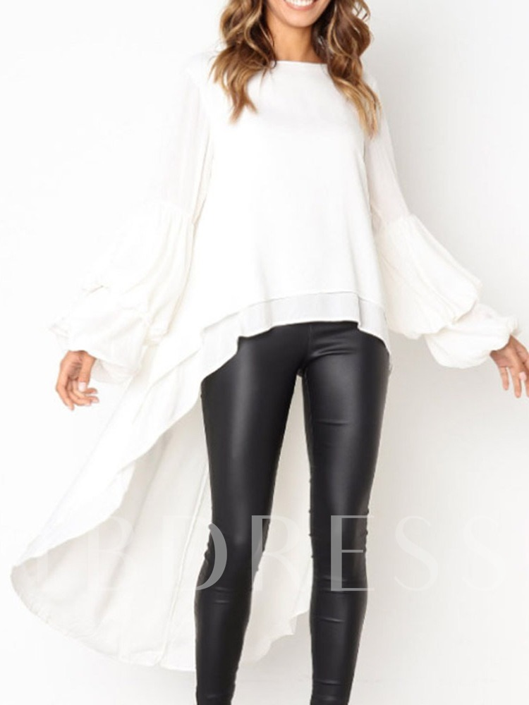 Plain Long Sleeve Women's Blouse