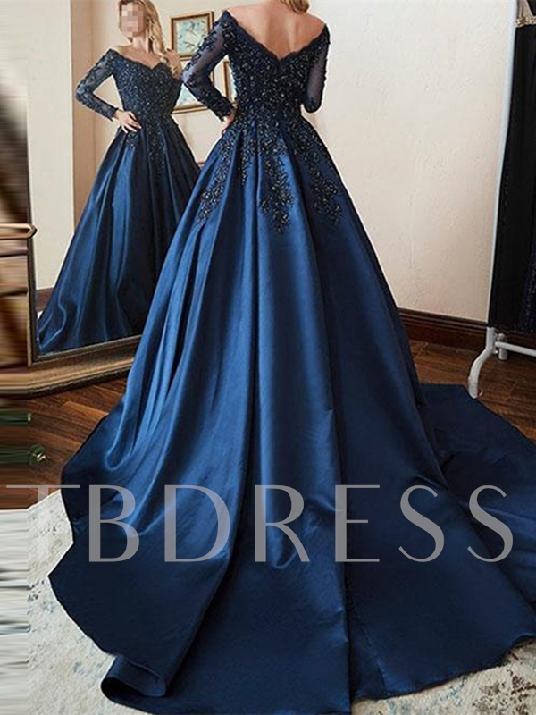Floor-Length V-Neck A-Line Beaded Long Sleeves Evening Dress