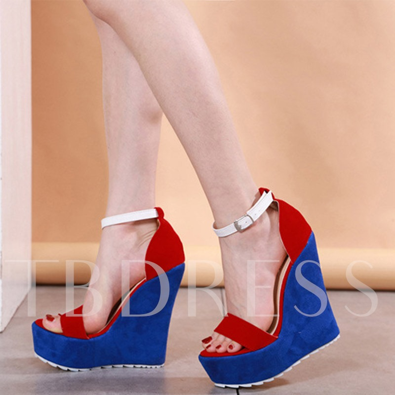 Wedge Heel Buckle Open Toe Heel Covering Sandals
