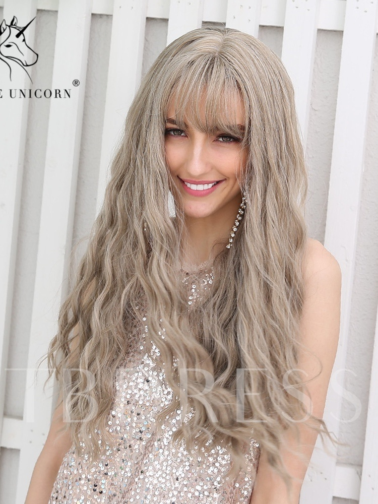 130% Density Halloween Women's Long Length Wave Wavy Synthetic Hair Capless Costume Cosplay Wigs 26Inch