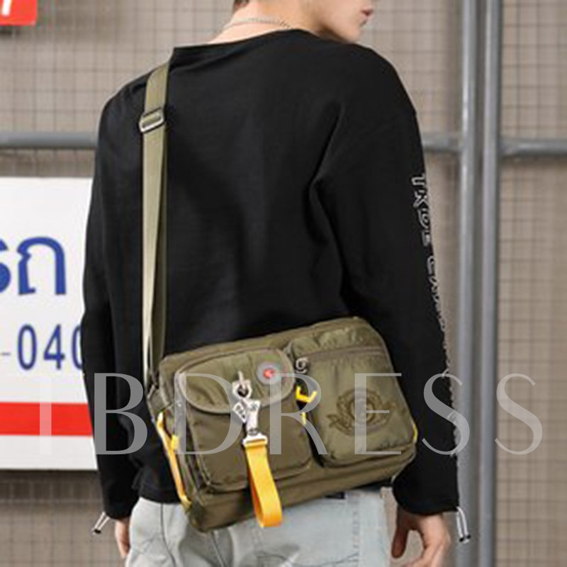 Thread Nylon Rectangle Crossbody Casual Men's Bags