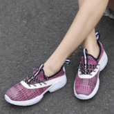 Round Toe Lace-Up Low-Cut Upper Mesh Women's Sneakers