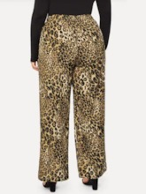 Plus Size Loose Print Leopard Full Length Women's Casual Pants