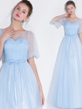 Scoop Sashes A-Line Half Sleeves Prom Dress 2019