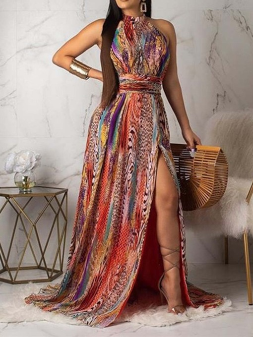 Print Sleeveless Backless Lace-Up Women's Maxi Dress