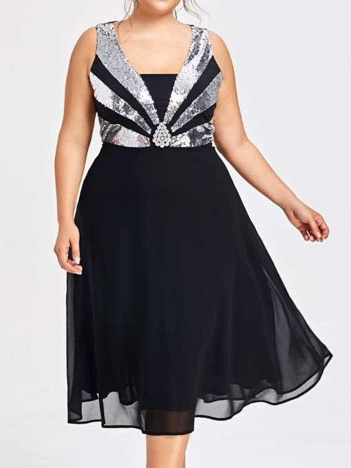 Plus Size Square Neck Mid-Calf Sequins Sleeveless Pullover Women's Dress