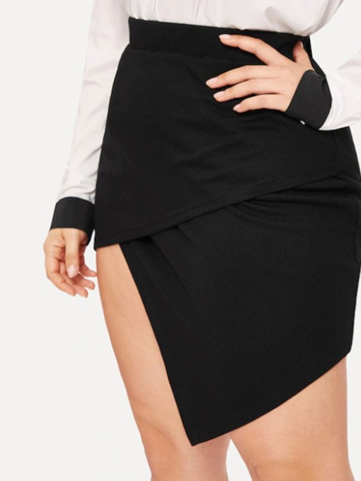 Plus Size Plain Asymmetric Mini Skirt Asymmetrical Western Women's Skirt