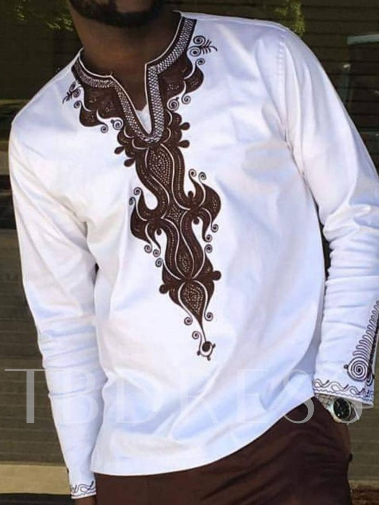 African Fashion Dashiki Style Print Color Block Casual V-Neck Loose Men's T-shirt