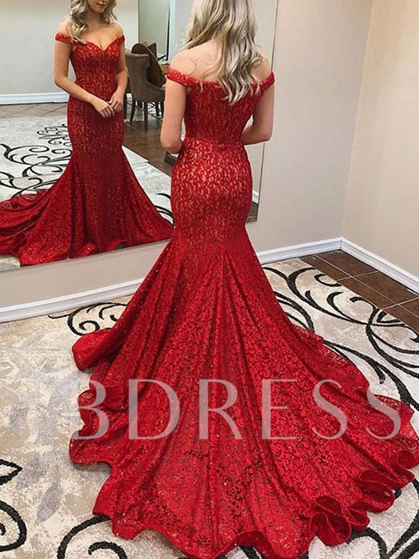 Off-The-Shoulder Court Train Red Lace Evening Dress 2019