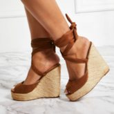 Wedge Heel Lace-Up Ankle Strap Open Toe Vintage Sandals