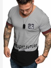 Sport Stylish Striped Print Color Block Short Sleeves Casual Round Neck Loose Men's T-shirt