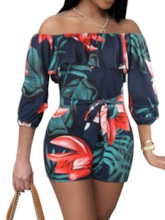 Shorts Bowknot Office Lady Floral Slim Women's Romper