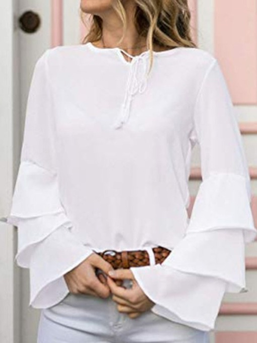 Round Neck Flare Sleeve Plain Lace-Up Long Sleeve Women's Blouse