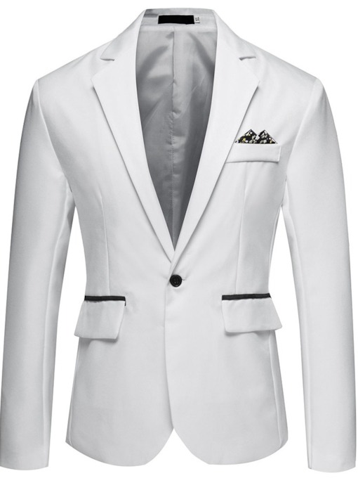 Black/White Color Block Button Korean Slim Men's Blazer