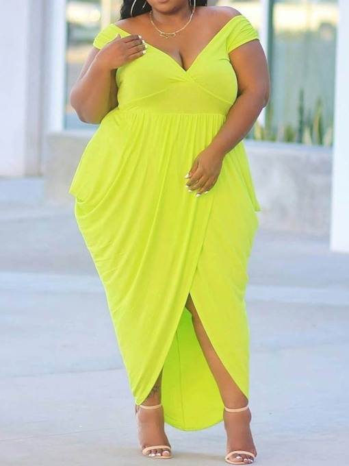 Plus Size Short Sleeve V-Neck Pleated High Waist Women's Dress