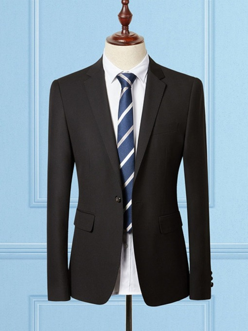 Fashion Handsome Slim Fit Groom Korean One Button Plain Men's Blazer