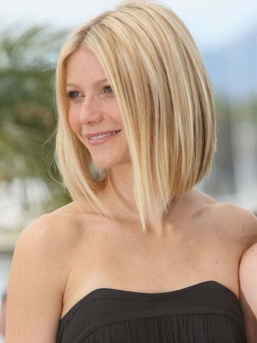 Medium Bob Hairstyles Women's Blonde Straight Synthetic Hair Capless Wigs 16 Inch