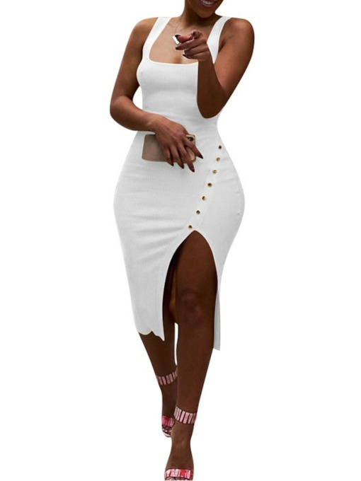 Split Sleeveless Spaghetti Strap Button Women's Bodycon Dress