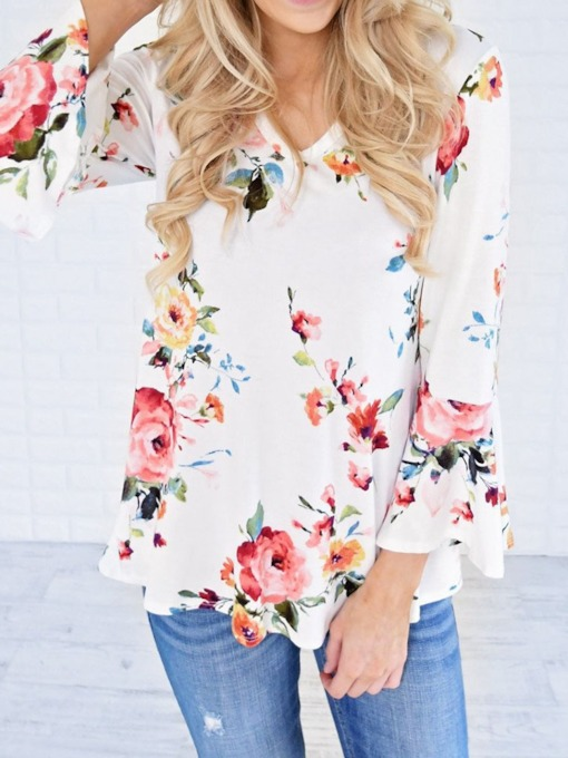 Floral Print Nine Points Sleeve Women's Blouse