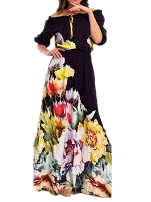 Half Sleeve Bowknot Off Shoulder Women's Maxi Dress