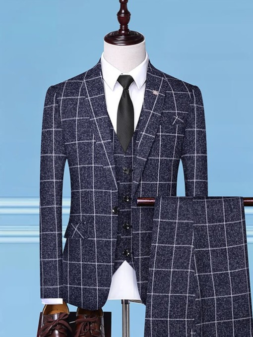 Fashion Plaid Printed Leisure One Button Vest Turn-Collar Men's Dress Suit
