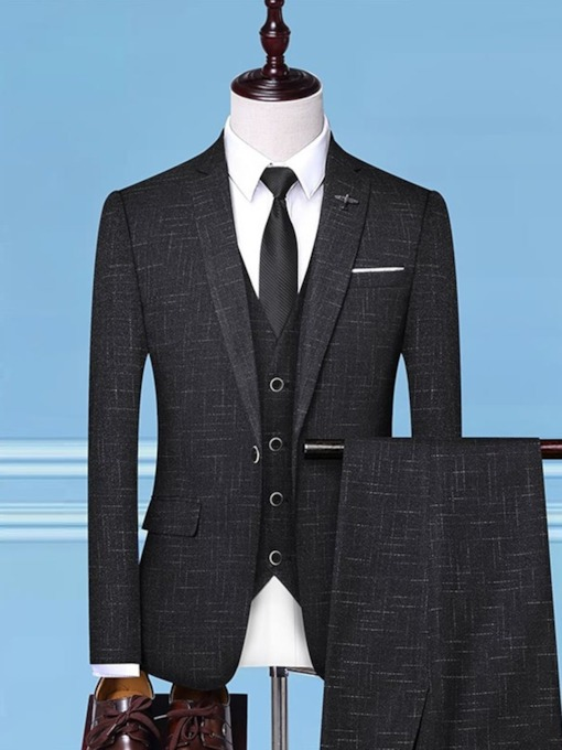 Color Block Fashion Blazer Pocket Men's Dress Suit