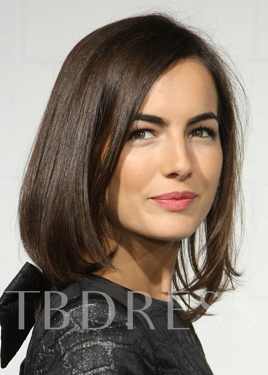 Medium Bob Hairstyles Women's Capless Wig Straight Synthetic Hair Wigs 16inch