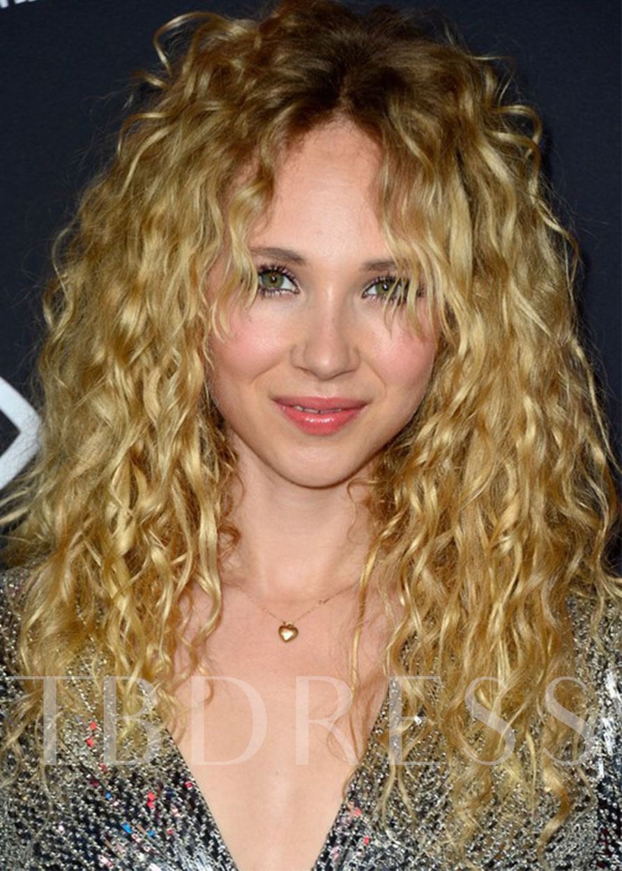 Women's Long Blonde Curly100% Human Hair Wigs Lace Front Wigs 24inch