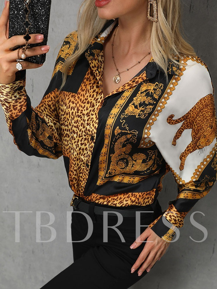 Leopard Button Long Sleeve Women's Blouse
