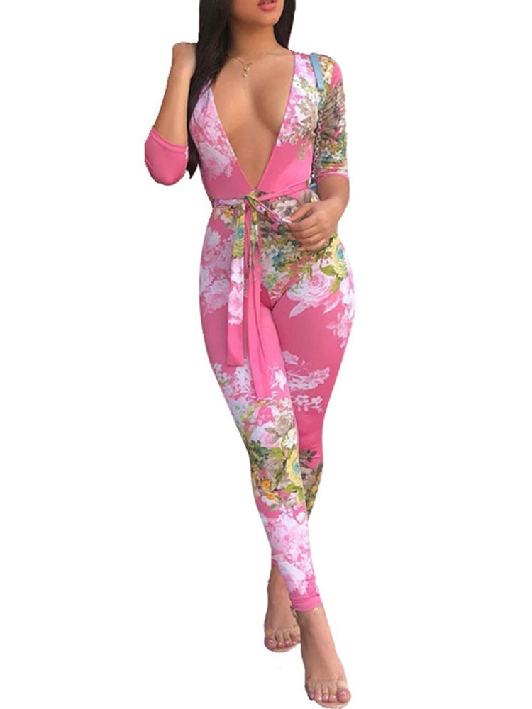 Office Lady Belt Ankle Length Floral Skinny Women's Jumpsuit