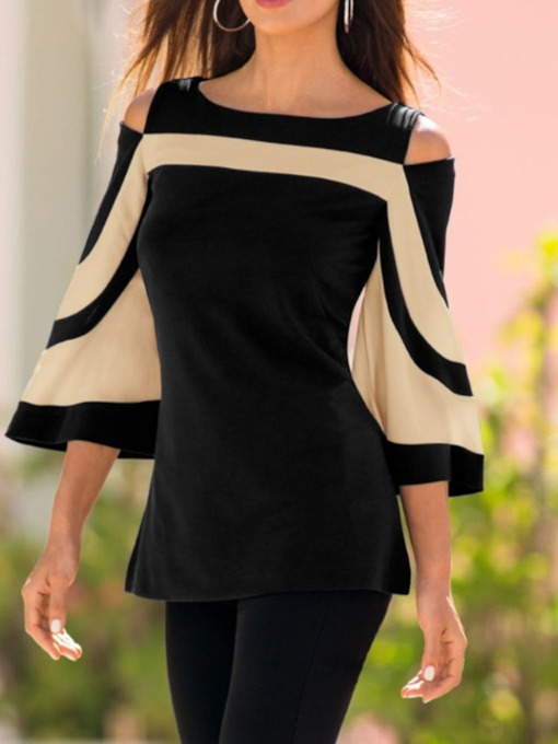 Patchwork Flare Sleeve Off Shoulder Mid-Length Women's Blouse