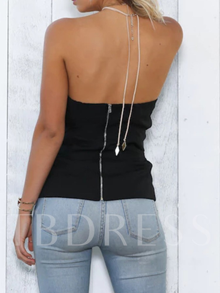 Polyester Lace-Up Standard Women's Tank Top