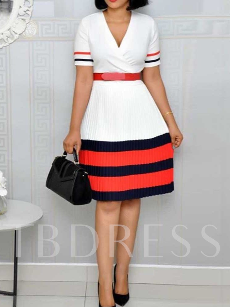 Patchwork Short Sleeve V-Neck Color Block A-Line Women's Day Dress